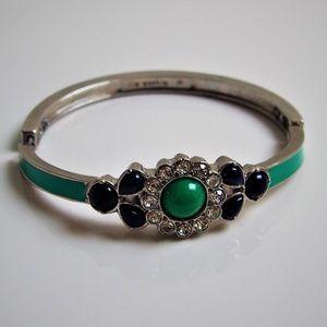 Lia Sophia Green & Blue Enamel Rhinestone Bracelet